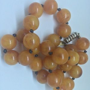 SIGNED Les Bernard Glass Bead Necklace Apple juice